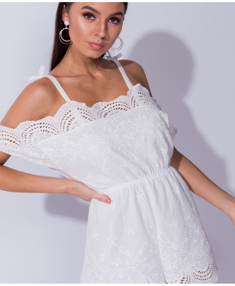 Broderie lace cold shoulder playsuit Online shopping mauritius