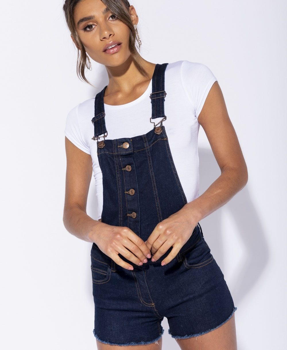 Button Front Frayed Hem Dungaree Shorts Mauritius