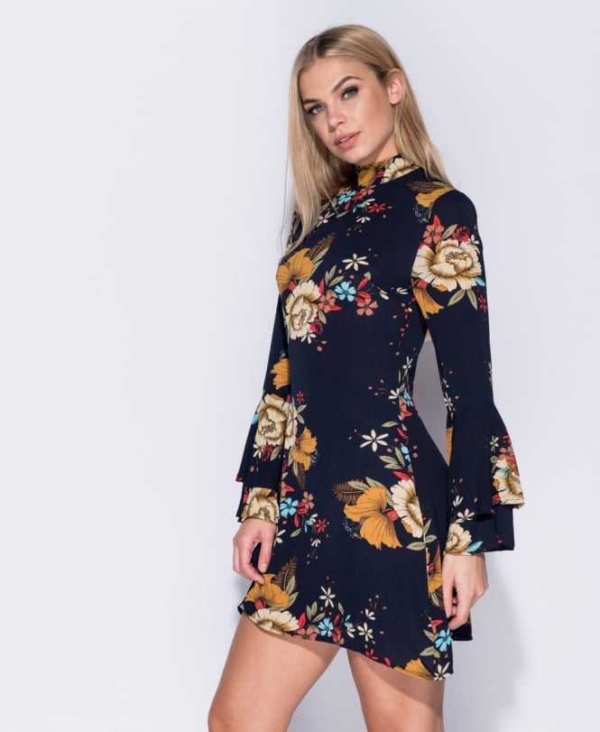 Floral print flared sleeve mini dress Online shopping mauritius