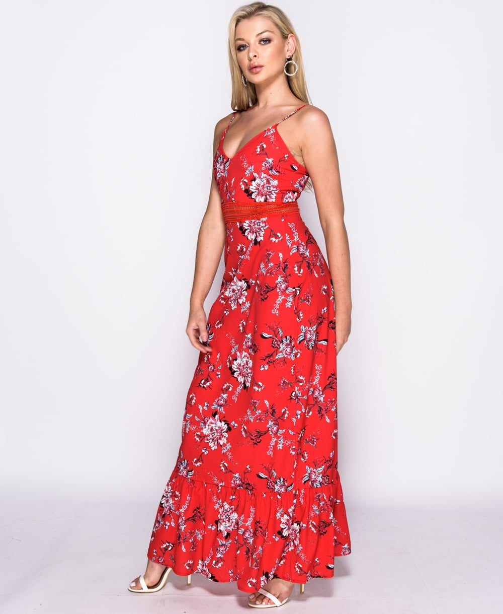Red Floral print lace trim maxi dress long dress Online shopping mauritius