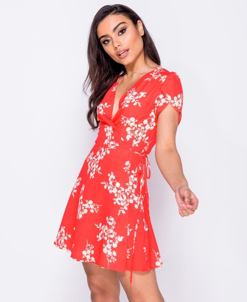 Floral v neck mini dress Online shopping mauritius