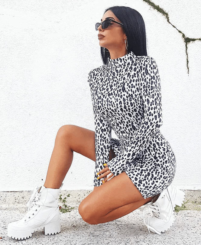 Leopard Print High Neck Long Sleeve Bodycon Mini Dress Mauritius