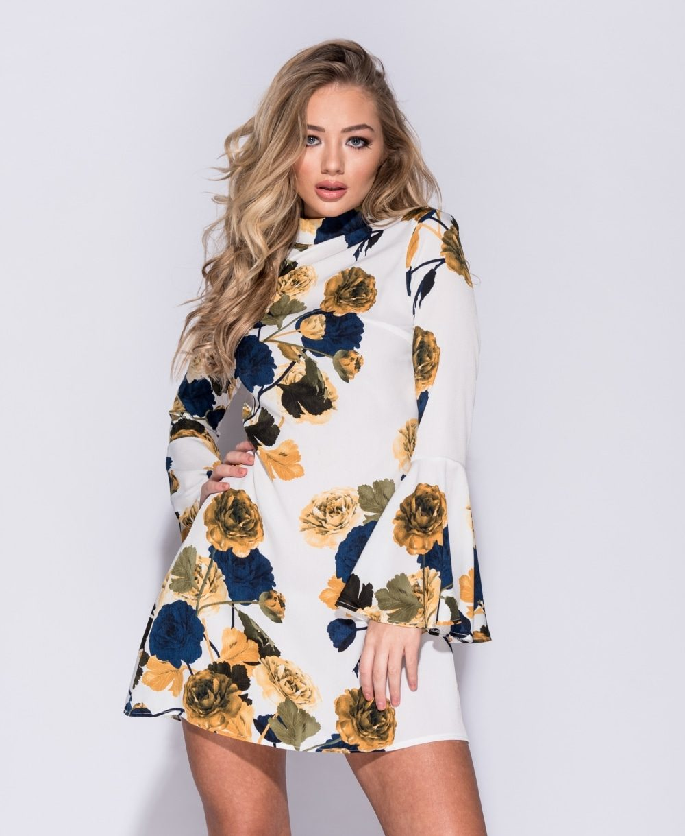 Rose print flare sleeve shift dress Online shopping mauritius