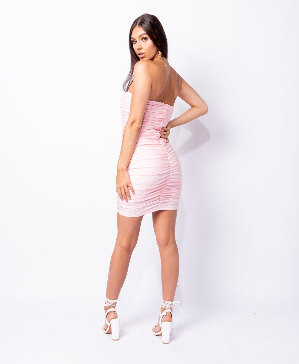 Rose Ruching detail bandeau bodycon mini dress Online shopping mauritius
